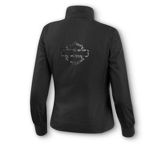 Metallic Jacquard Print Logo Biker Jacket