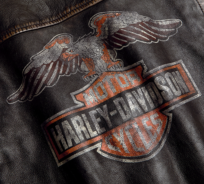 Eagle Logo Distressed Leather Biker Jacket