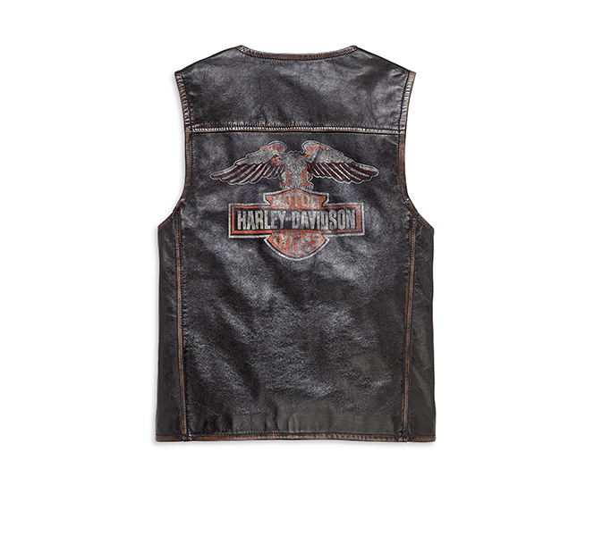 Eagle Distressed Slim Fit Leather Vest