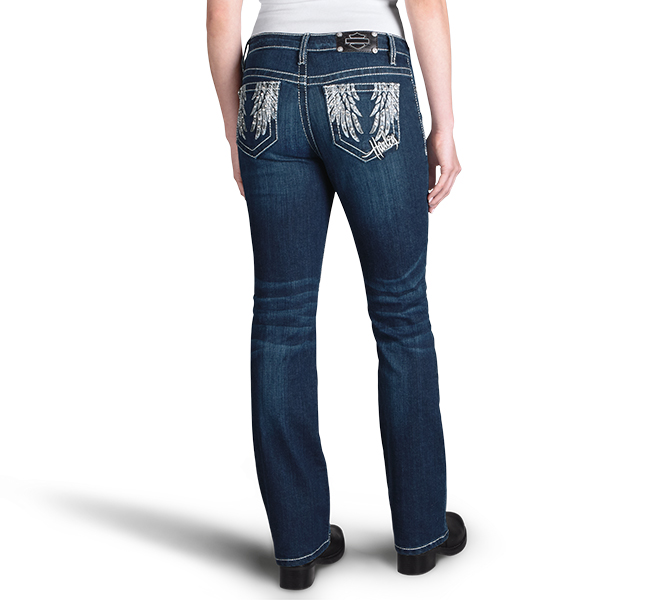 Curvy Boot Cut Embellished Pocket Mid-Rise Jeans