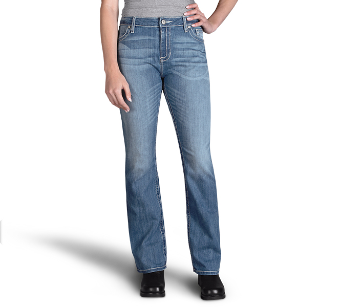 Curvy Boot Cut Embellshed Flap Mid-Rise Jeans