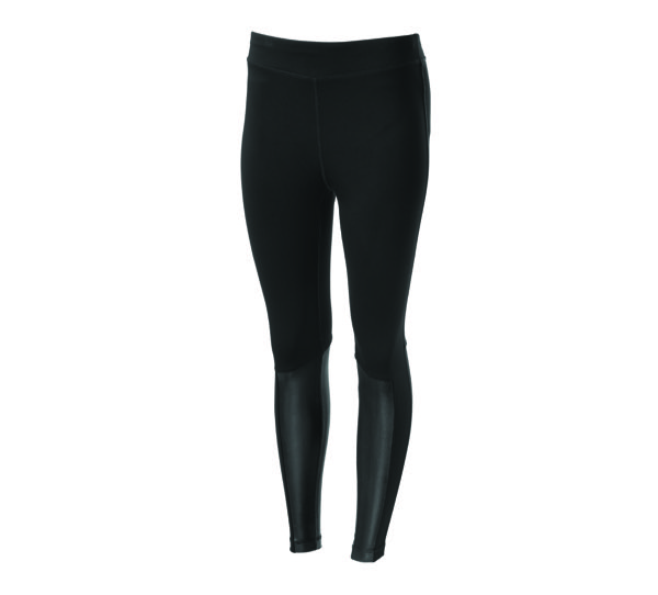 Leather Accent Mid-Rise Leggings